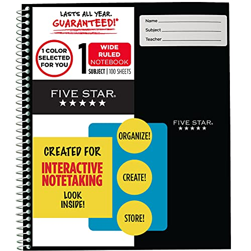 """Five Star Interactive Notetaking, 1 Subject, Wide Ruled Spiral Notebook, 100 Sheets, 11"""" x 8-1/2"""", Color Selected For You, 1 Count (06560), 16 Color Selected For You"""