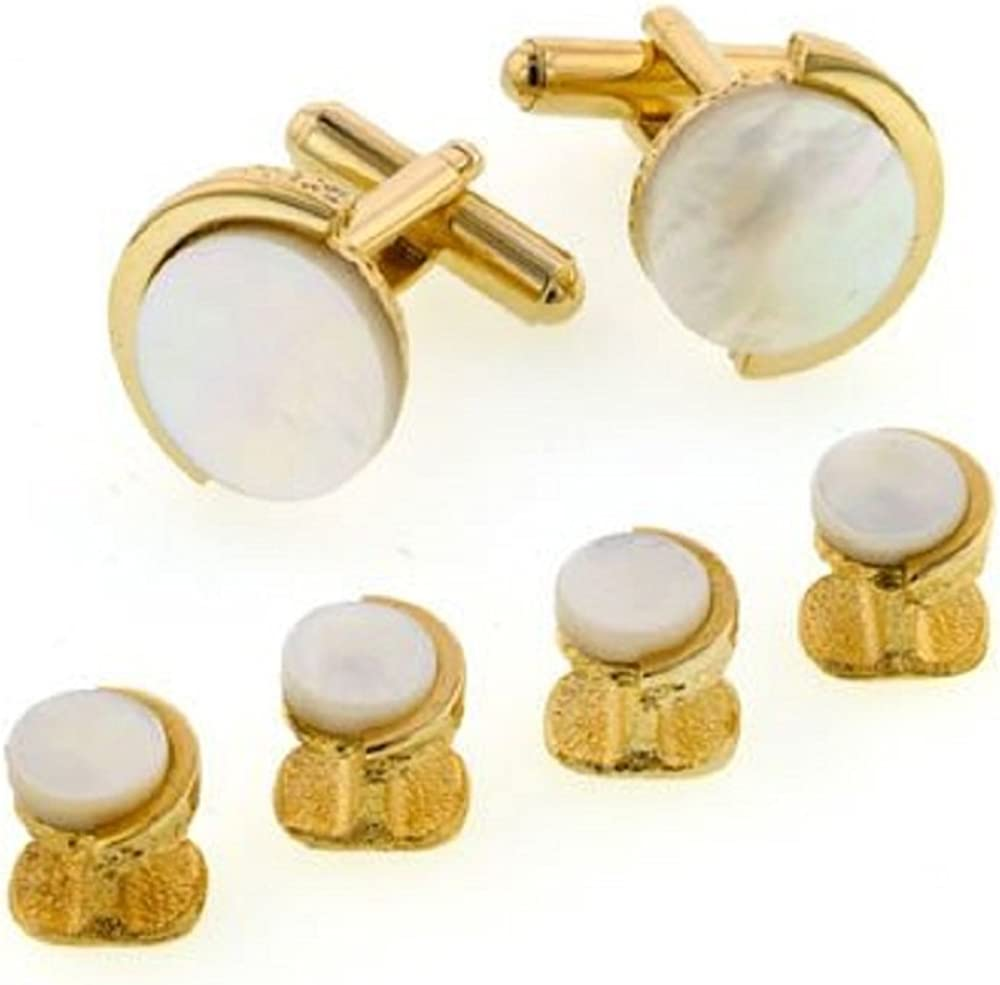 JJ Weston Mother of Pearl Tuxedo Cufflinks and Shirt Studs. Made in the USA.