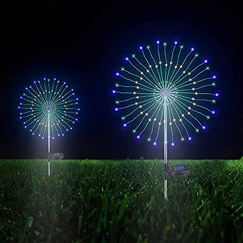 LYTBJ Decorazione Solare per Esterni da Giardino Luce paesaggistica Luce Fai da Te Fiori e Albero di fuochi d'artificio, per Illuminazione da Giardino, Prato (Colore Caldo)