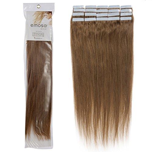 16 inch Emosa Remy Stright PU Tape Skin Seamless Human Hair Extensions #08 Chustnut Brown 50g