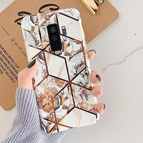 Uposao Kompatibel mit Samsung Galaxy S9 Plus Marmor Hülle Case Glitzer Marmor Blumen Muster Weiche TPU Silikon Ultra Dünn Hülle Schutzhülle Kratzfest TPU Bumper Handytasche Case Cover,Gold