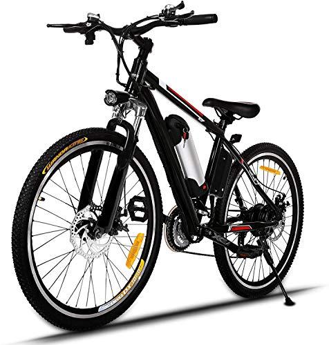 ANCHEER Bici Elettriche da Montagna 26 Pollici, Mountain Bike Batteria al Litio (36 V 250 W) 21 velocità di Sospensione Completa e Attrezzatura Shimano (Nero (Non Pieghevole))