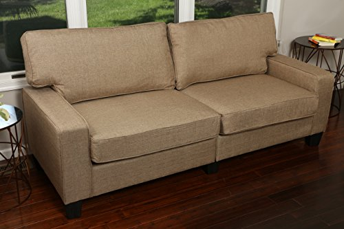 "Home Life 3 Person Full Size Contemporary Pocket Coil Hardwood Sofa 282 78"" Wide - Light Brown"