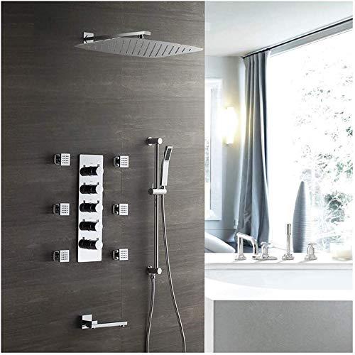 Juego de ducha empotrada, ducha empotrada, cuatro funciones, spray para lluvia, ducha con termostato, HotandcoldB.
