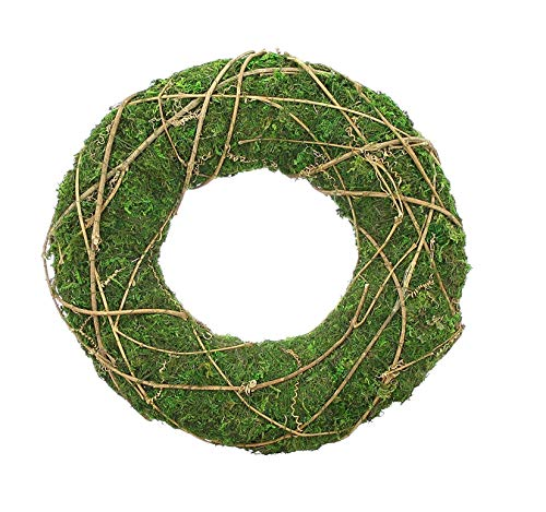 Deko-Kranz aus Moos, mit Reisig umwickelt, grün, Ø 30 cm, Wandkranz, Tischkranz, Türkranz