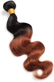 Yrattary 実体波人間の髪の毛1バンドルナチュラルヘアエクステンション横糸 - 1B / 30#黒と茶色のツートンカラー(100g / 1バンドル)合成髪レースかつらロールプレイングかつら長くて短い女性自然 (色 : ブラウン, サイズ : 24 inch)