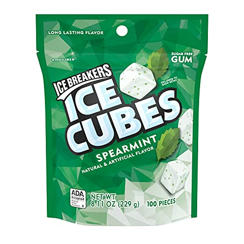 ICE BREAKERS ICE CUBES Spearmint Flavored Sugar Free Chewing Gum, Made with Xylitol, 8.11 oz Bag (100 Pieces)