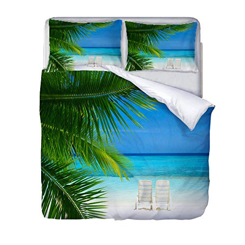 BSZHCT Duvet Cover Set King bed Size Blue sky coconut tree Printed Bedding Set 100% Hypoallergenic Microfiber Quilt Cover and 2 Pillowcases Duvet Set Gift for Teens Girls boy adult