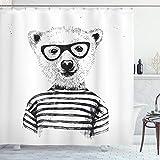 ABAKUHAUS Duschvorhang, Hipster Bär mit Gestreiftem Shirt & Lächeln Retro Design Digital Print Druck Schwartz Weiß, Blickdicht aus Stoff inkl. 12 Ringe für Das Badezimmer Waschbar, 175 X 200 cm