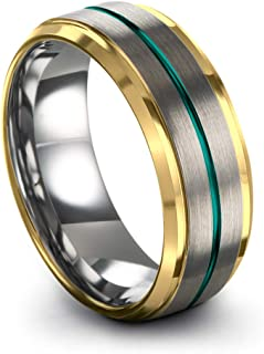 Tungsten Carbide Wedding Band Ring 8mm for Men Women Green Red Blue Purple Black 18K Yellow Gold Grey Center Line Step Bevel Edge Brushed Polished