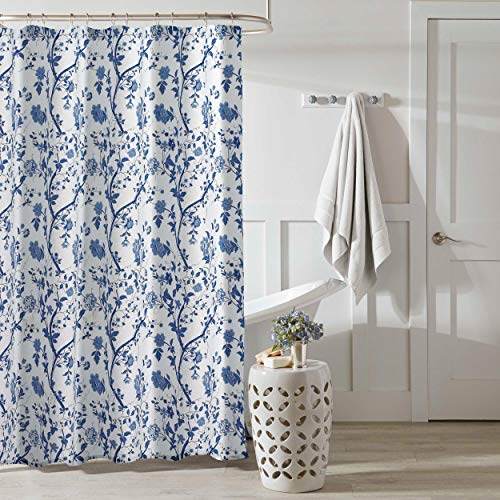 """Laura Ashley Home Charlotte Collection Shower Curtain-100% Cotton, Machine Washable for Easy Care, Design, 72"""" x 72"""", China Blue"""