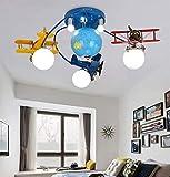 Cartoni animati Aereo Lampadario, moderna LED montaggio a filo soffitto luce con World Globe luce del pendente creativa di fissaggio for i bambini in camera dei bambini in camera da letto