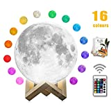 Moon Lamp, mono living,16 Colors 3D Print Moon Light (5.9inch) LED with Stand, Remote Control, Baby Night Light Easter Day Birthday Gifts Family Couple Daughter Mother Teen Girl Boyfriend Girlfriend