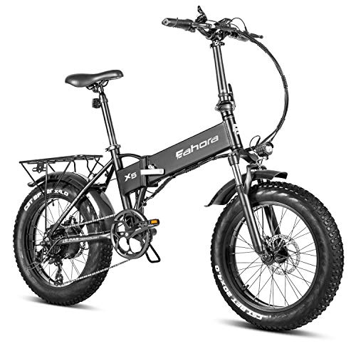 """Eahora X5 Pro 750W High Power Version 20"""" Fat Tires Folding Electric Bike 48V 10.4Ah Battery Ebike for Adults & RV Power Recharge System 7 Speed with Fenders & Rack for Snow Beach Mountain"""