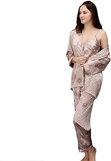 WanYangg Satin Pyjama Set Womens Vest Lace Shorts PJ's Nightwear Night Robe Men Kimono Bathrobe Satin Robe SleepwearLong S...