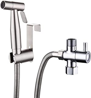Hatos Hand Held Premium Stainless Steel Sprayer, 360 Degree Pivoting Nozzle Easy Wash, Hand Bidet Sprayer Complete Bidet Set for Toilet