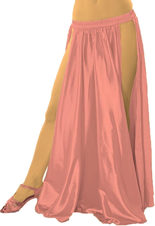 Meek Mercery Satin Tribal Dance Side Cut Dance Skirt Belly Dance High Slit Skirt One Size S36