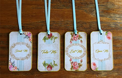 Alice in Wonderland 20 Eat Me, Drink Me, Take Me, Open Me Wedding shower party tags