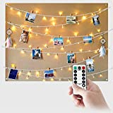 Guirlande Lumineuse Exterieur Photo LED Pile - 5M 50LED Guirlande Porte Photo Mural Guirlande Pince Lumineuse Interieur Chambre Accroche Photo Clip
