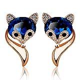 Earrings Christmas Halloween Decoration Cute Fox Shape Blue Crystal Zircon Diamonds Stud Earrings For Women Sapphire Gemstones Rose Gold Silver Color Pendientes Jewelry