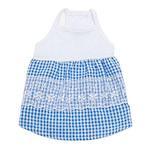 Puppy Apparel pour animal domestique Vêtements Lovely Bleu Bretelles Jupe Chien Vêtements, tour de poitrine 42 cm