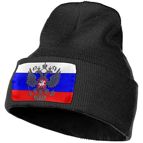 AEMAPE Gorro Unisex con Emblema de águila Rusa, Gorro de Punto con Bandera, Gorro de Calavera