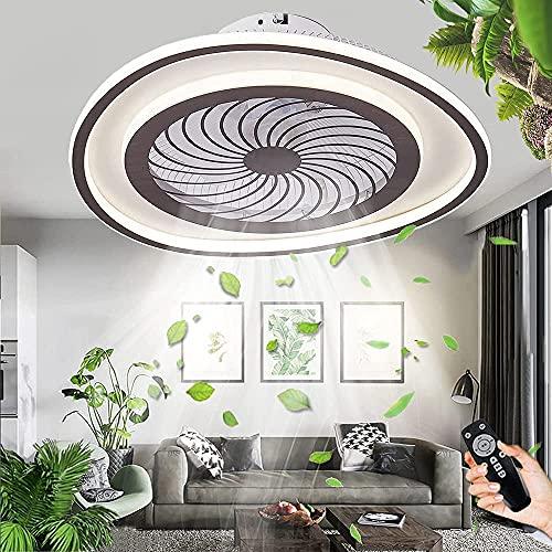 Ventilador De Techo Redondo Creativo Deco Con Iluminación 58W LED Ventilador Silencioso Luz De Techo Ventilador Regulable Lámpara Techo Control Remoto Moderno 3 Velocidades De Viento Para Dormitorio