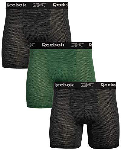Reebok Men's Athletic Performance Moisture Wicking Nylon Mesh Boxer Briefs (3 Pack), (Black/Dark Green, X-Large)