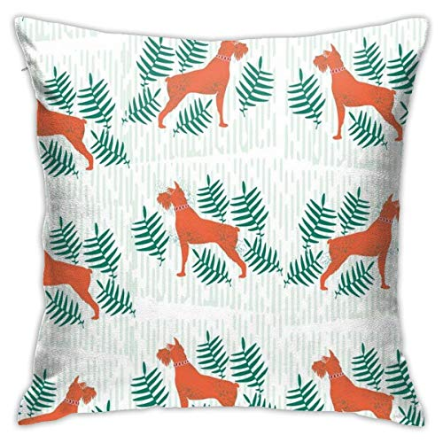 Schnauzer Pattern Decorative Throw Pillow Cover Soft Square Cushion Cover for Sofa Bedroom Car 18 X 18 Inch