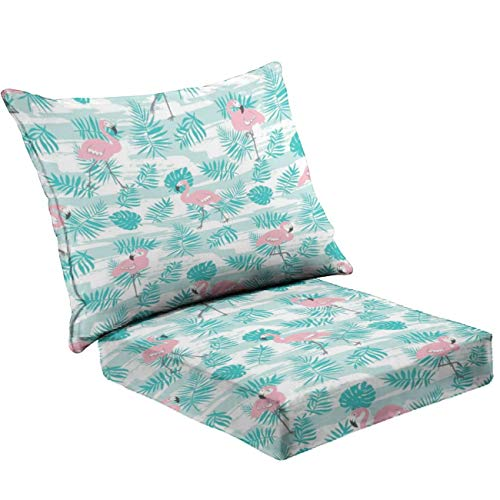 MVEMOEMCA Tropical Seamless Pattern with Pink Flamingos and Green Palm Leaves Deep Seat Cushion Set Plush Surface Backrest and Seat Cushion Outdoor Indoor Furniture Replacement Cushions