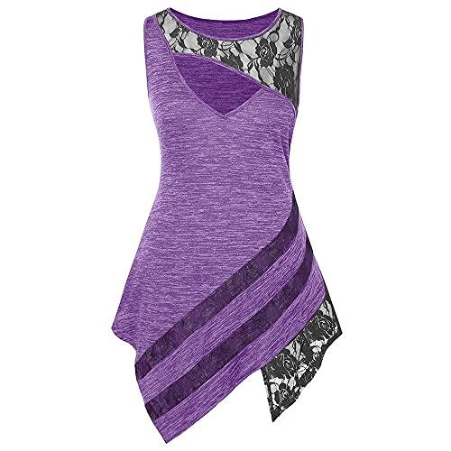 Camiseta Mujer Elegante Moda Sin Mangas Cuello Redondo Tops Mujer Empalme Encaje Dobladillo Irregular Blusa Mujer Vacaciones Viaje Verano Playa Mujer Tops B-Purple 4XL
