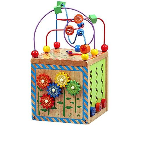 Jouets FEI Grand 6 en 1 perle de labyrinthe Cube First Toddlers apprentissage bois Centre d'activité éducatifs pour Babys enfants Début Éducation