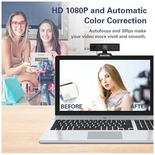 EKACOM Webcam 1080P Full HD con Microfono,Cámara Web con Cubierta de Privacidad ,Usb Web Camera PC Plug y Play para… 6