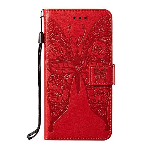 pinlu® Funda para Xiaomi Redmi GO teléfono con Tapa de Cuero PU con Estampado de Mariposa/Apertura y Cierre magnéticos/función de Soporte Rojo