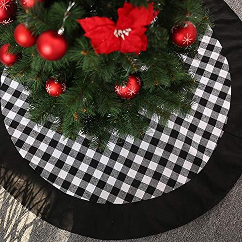 GUAN Christmas Tree Skirt,48inch Black and White Buffalo Check Plaid Christmas Tree Skirt,Country Xmas Tree Skirts for Christmas Decorations Party and Holiday Ornaments