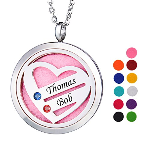 Valyria Birthstone Heart Necklace Aromatherapy Perfume Essential Oil Diffuser Necklace Personalized Necklace 2 Names 2 Birthstones Gift for Family Members