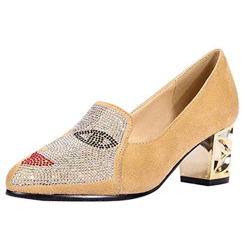 Artfaerie Damen Slip On High Heels Blockabsatz Pumps mit Strass und Spitze Elegante Abend Schuhe(EU 41,Aprikose)