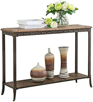 Amazon Com Trenton 39 Inch Distressed Pine And Metal Console Table Furniture Decor