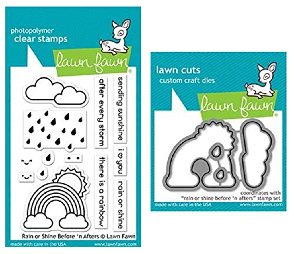 Lawn Fawn Rain or Shine Before n Afters 3x4 Clear Stamp Set and Matching Lawn Cuts Die Set (LF1888, LF1889), Bundle of Two Items
