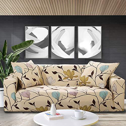 ASCV Elastic Sofabezug Blumendruck Sofa Schonbezüge Sofabezüge für Wohnzimmer Ecksofa Handtuch Couchbezug A20 3-Sitzer