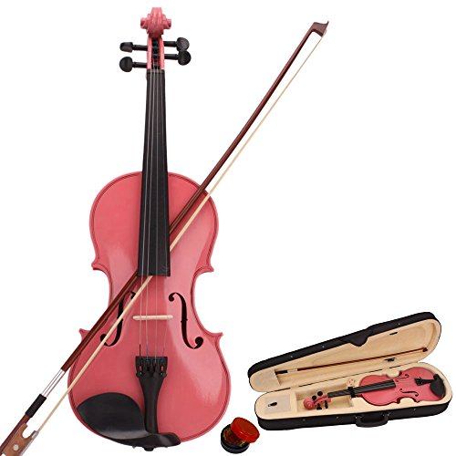 wuddi Acoustic Violin Fiddle 4/4 Full Size with Bow Case Rosin for Beginner Adult Boys Girls Children (Pink)