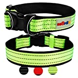 Dog Collar, HAOPINSH Reflective Dog Collar for Small Medium Large Puppy Dogs Soft Nylon Neoprene Pet Collar with Two D-rings Padded Breathable Adjustable Best Gift for Dogs M Green