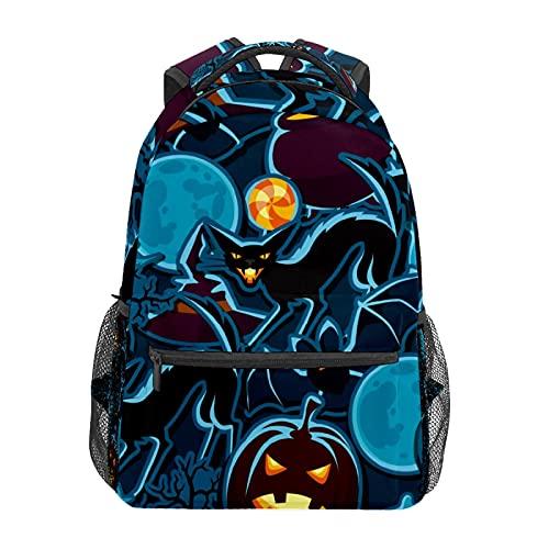 Zucca di Halloween Gatto Pipistrello Sagome Zainetto Zaino Scuola College Viaggi Escursionismo Moda Laptop Zaino per Donne Uomini Teen Casual Borse di Tela