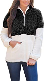 Yskkt Plus Size Sherpa Pullover Womens Sweatshirt Half Zip Fuzzy Fleece Jacket Winter Coat Outwear with Pockets (XXX-Large, Black)