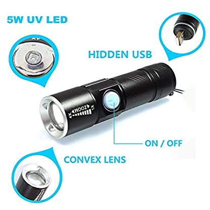 Mini UV Torch USB Rechargeable, BESTSUN LED Black Light Flashlight Ultraviolet Torches Zoomable 395nm Dog Cat Pet Urine Finder Stain Detector Light(Built in Rechargeable Battery) 4