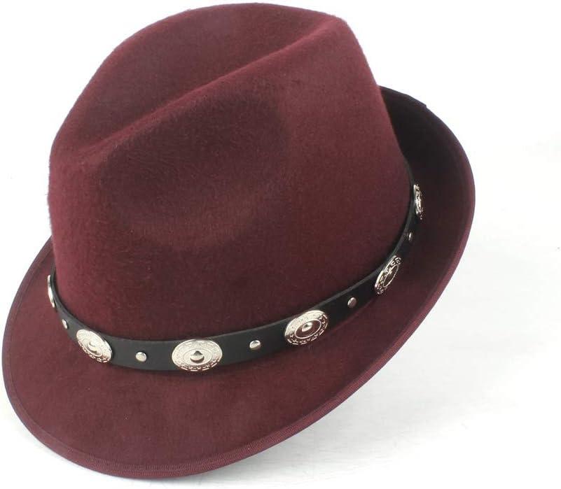 HHF Caps & Hats Dad Wool Polyester Fedora Hat, Ladies Elegant Church Jazz Hat, Gentleman Travel Hat Prom Hat (Color : Wine red, Size : 58cm)