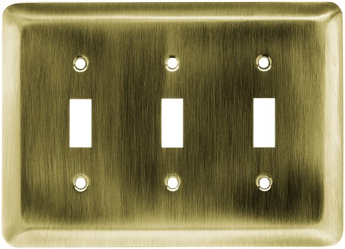Franklin Brass 64376 Stamped Steel Round Triple Toggle Switch Wall Plate/ Cover, Antique Brass