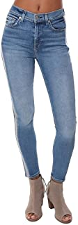 7 For All Mankind Womens The High-Waisted Ankle Skinny with Wide Silver Lurex Stripe in Muse