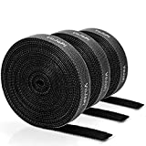 VoJoPi 3 Rollos Bridas Reutilizables, 3 x 3m Sujeta Cables Ajustable Cable Corbatas con Nylon Gancho y Lazo, Ataduras Cables para Hogar y Oficina, Negro