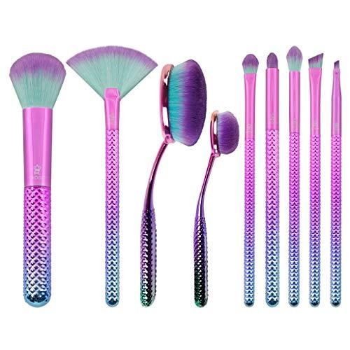 MODA Prismatic Lot de 10 pinceaux de maquillage de luxe avec fond de teint, contour, poudre multi-usages, éventail, ombre à paupières, smoky eye, pli, sourcils et angle eyeliner avec pochette